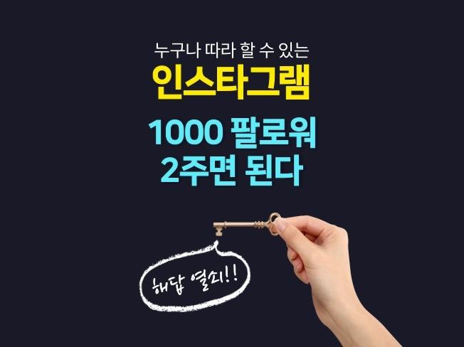 인스타그램 1000 팔로워 2주에 끝내는 핵심 노하우를 드립니다.