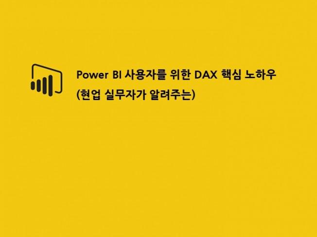 일대일 Power BI DAX 핵심을 알려 드립니다.