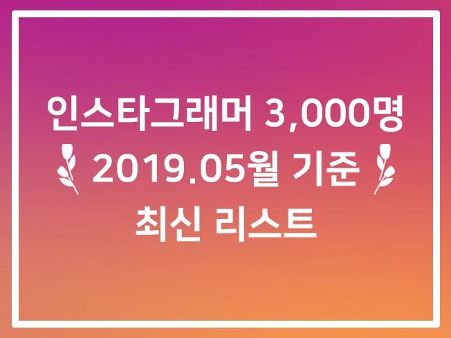 인스타그래머 분야별 최신(2019.05월 기준) 리스트 3,000건 드립니다