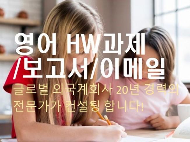 영어 HW 과제 에세이 이메일 등 전문가가 컨설팅해 드립니다.