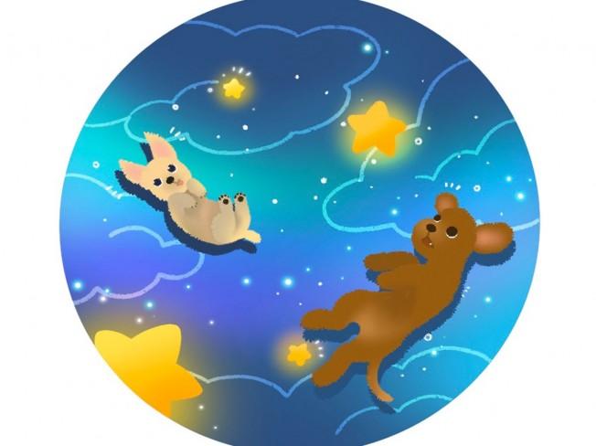 우주에서 놀고 있는 반려동물을 그려 드립니다.