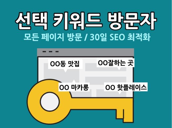 """30일간 """"선택한 키워드"""" 검색 유입 고가치 방문자를 드립니다"""