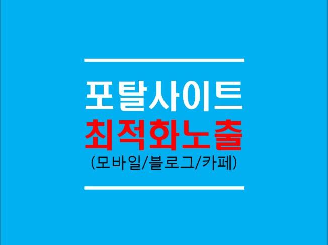 대표포털 최적화노출(모바일/블로그/카페) 해 드립니다
