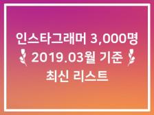 인스타그래머 분야별 최신(2019.03월 기준) 리스트 3,000건드립니다.