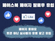 """페이스북 페이지 """" 유료광고 """" 로만 좋아요 유입해드립니다."""
