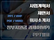사업계획서,제안서,상품기획서,정부지원금과제(HWP,PPT,WORD,PDF)컨설팅해드립니다.