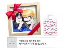 [상시주문가능]팝아트 초상화+액자(캐리커처)/커플 부모님 아이 기념일 선물 예쁘게 그려드립니다.