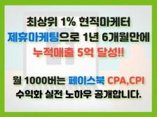 최상위1% 제휴마케팅으로 5억 매출을 달성한 CPA,CPI 수익화 노하우를 전부 공개해드립니다.