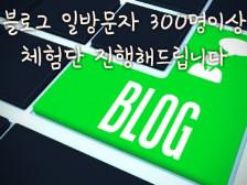 블로그 일 방문자 300명이상 체험단 진행해드립니다.