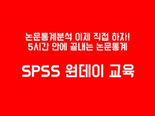 논문통계분석 SPSS 원데이 교육/하루만에 끝내는 SPSS통계교육 진행해드립니다.