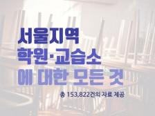 서울지역 모든 학원/ 교습소에 대한 자료(총 153,822개 자료) 를드립니다.
