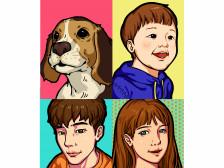 팝아트, 카툰 초상화/반려동물,아기,기념일 선물용 초상화그려드립니다.